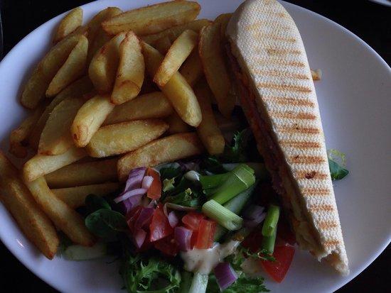 Kas Bar: Half the panini allready eaten at time of photo!. £3.99 Fresh, good value, tasty food.