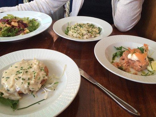 Heering Restaurant and Bistro: Salad, risotto, salmon, asparagus tart.