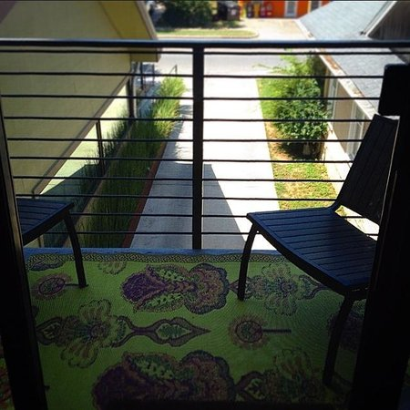 Heywood Hotel : Private balcony outside room #7. Perfect for relaxing, reading, or soaking up some sun.