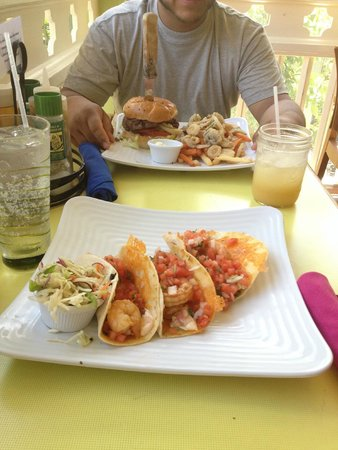 Sunshine Grill: The amazing shrimp tacos and that yummy burger