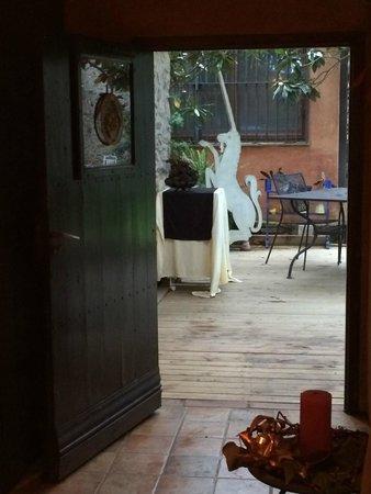 Las Moradas del Unicornio: View from dining with fireplace
