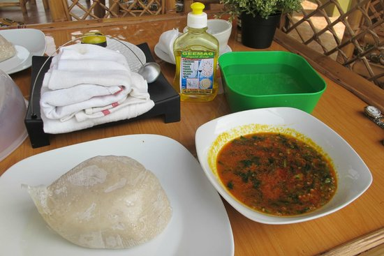 Honey's Drive Restaurant and Bar : Okra Stew with Banku (millet)