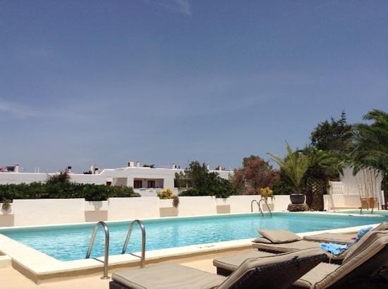 Sunset Oasis Ibiza : het mooie zwembad vanaf een heerlijk tweepersoonsbed in de schaduw...