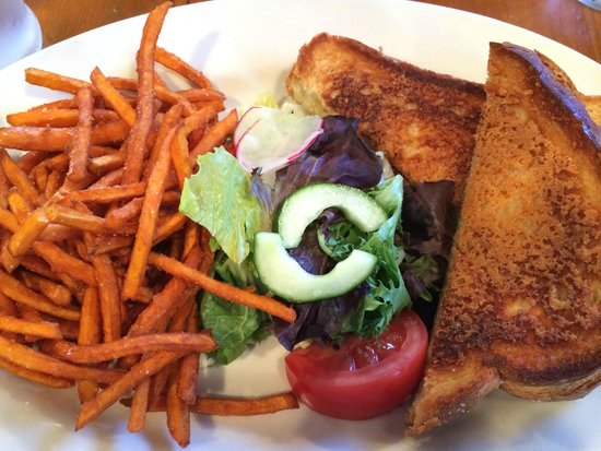 Crockett's Public House: grilled cheese, sides of salad, sweet potato fries