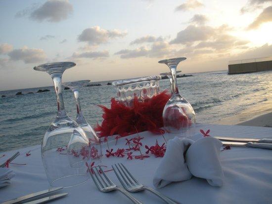 Sunscape Curacao Resort Spa & Casino : Cena Romántica al atardecer en la playa del hotel