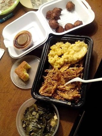 Local Smokes BBQ: Hushpuppies, Mac & Cheese, Cornbread, Pulled Chicken, Collards, and BBQ Sauce