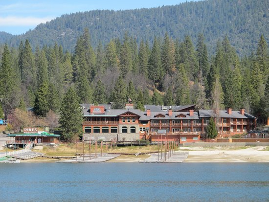 View of The Pines Resort from across the lake.