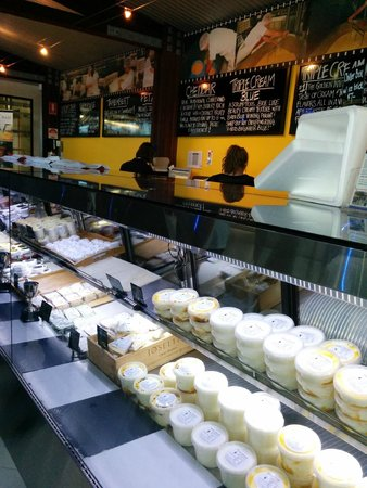 Cheese cabinet at Witches Chase Cheese.