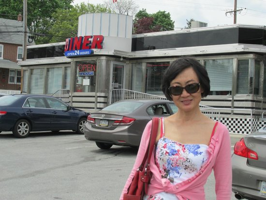 Downingtown Diner: Lovely Li in front of the Diner