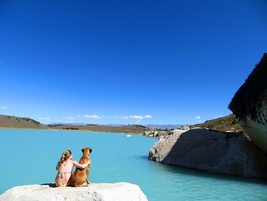 Llanganuco Mountain Lodge: Zulu hanging out at Laguna Keshua, a swimming spot just minutes away.
