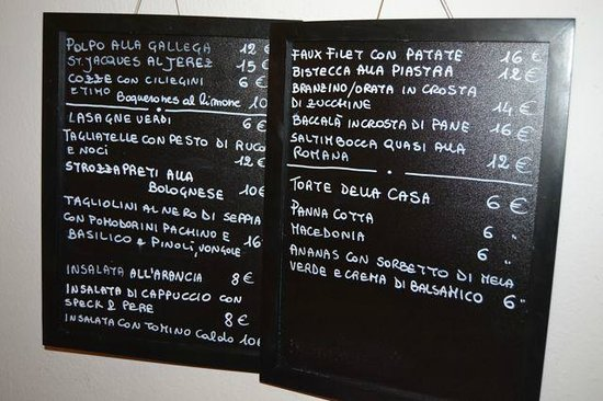 Trattoria a ca de Nina: The menu will be changed continuously the chief told us