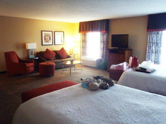 Hampton Inn & Suites Columbus-Easton Area : Huge area between the sitting and beds