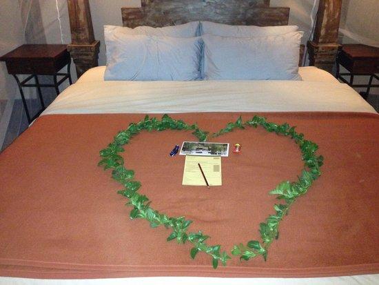 Tawi Lodge: ベッドにデコレーションしてくれました