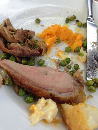 The Sun at Northaw: Overcooked and chewy duck & vegetables