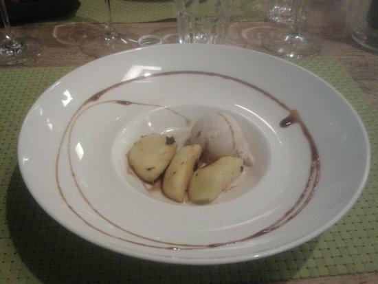 Pepata di Corte : Pesca grigliata al caramello con gelato alla nocciola