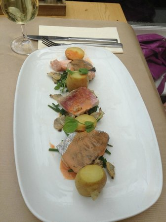 Cranes Wine Cafe: Grilled seafood medley of seabass, salmon & red mullet