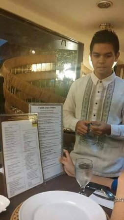 XO 46 Heritage Bistro: Server in Barong Tagalog