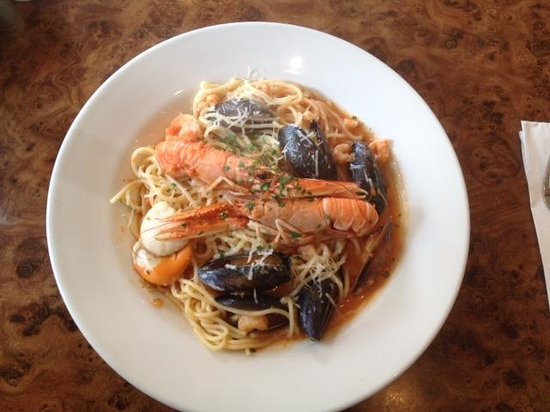 Francine's : Spaghetti Marinara with fresh mussels, clams, prawns served with pasts, parmesan & herbs topped