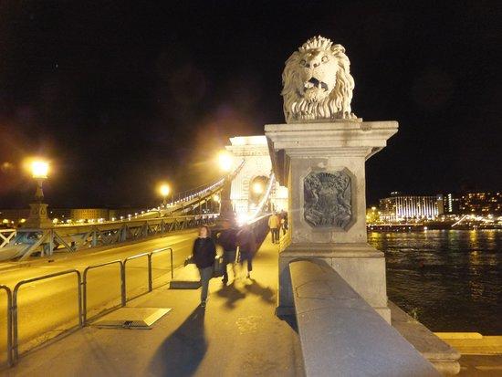 Sofitel Budapest Chain Bridge: Stone Lion guardians on the Chain Bridge