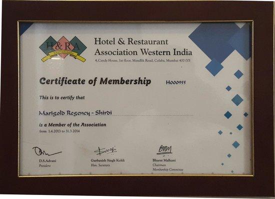 Marigold Regency: H&RA certificate