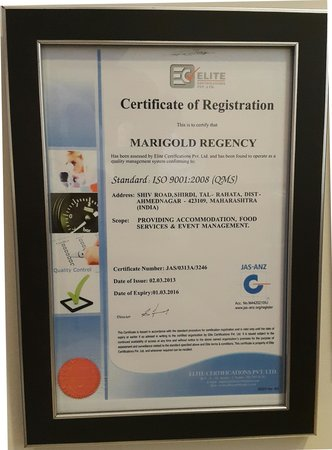 Marigold Regency: ISO certification