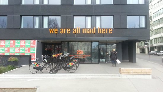 25hours Hotel beim MuseumsQuartier: The front of the hotel with a great message.