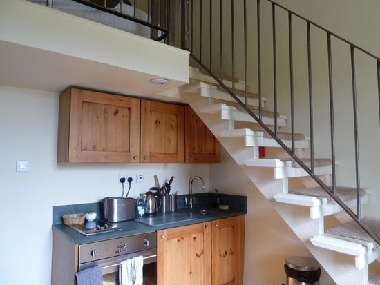 The Masons Arms: kitchen and stairs up to bed