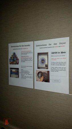 E Hotel Higashi Shinjuku: Instructions for using washer and dryer