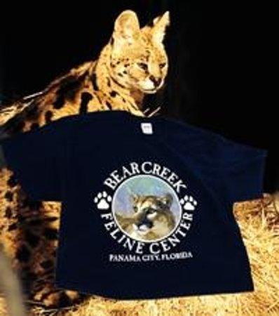 Bear Creek Feline Center: African Serval with a Bear Creek Souvenir t-shirt