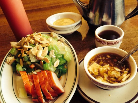 Double Dragon : All this at lunch for $4.50, sweet and sour soup, barbque pork, almond chicken subgum, hot tea a