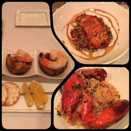 PULLMAN Miami Airport hotel: Nosso jantar no hotel. Ceviche na entrada, e para prato principal risoto com frutos do mar e sal