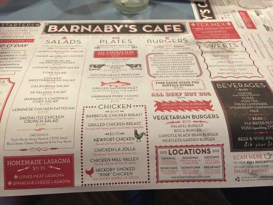 Barnaby's Cafe: Menu