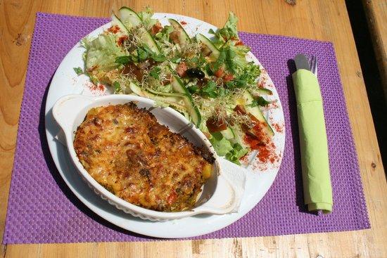 K Fee Tartines: Gratin de légumes/Salade