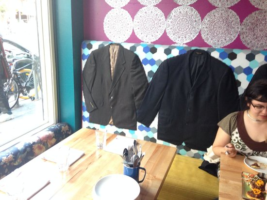 Lolo: coats sewn into the back of the banquette