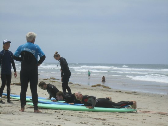 Leucadia Surf School: Dry land basics - learning to stand up
