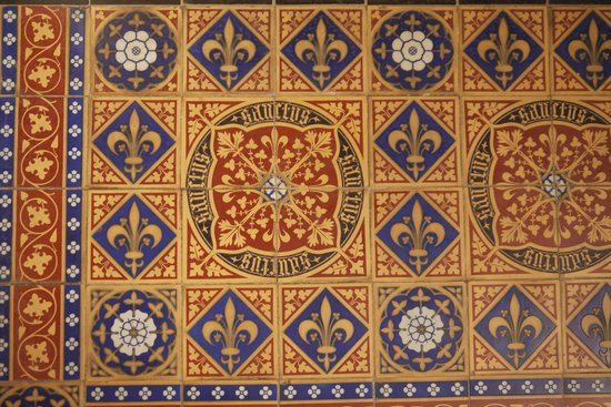 Shrine of St Augustine: Look down: unique tiles, as at the Houses of Parliament and the Capitol