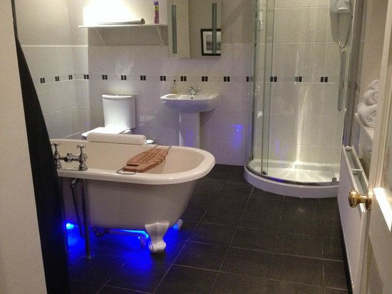 The Old Rectory on the Lake: en suite bathroom - blue lights!