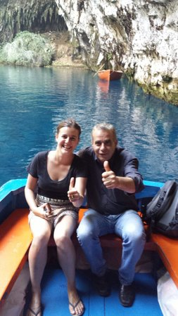 Melissani Cave: This was our amazingly cheeky captain who showed us through the cave. Our Greek is terrible but