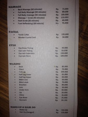 Price List   Picture Of Cura Beauty Salon Bali  Tripadvisor