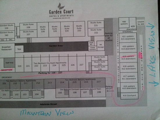 Garden Court Suites & Apartments: Complex map