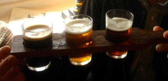 The Drunken Duck Inn: Three fine beers on a Beer Bat - each one third of a pint