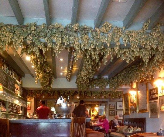 The Drunken Duck Inn: Hop-laden interior of The Drunken Duck