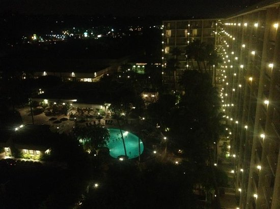 Town and Country San Diego: View of the pool from the Towers room 1030 at night
