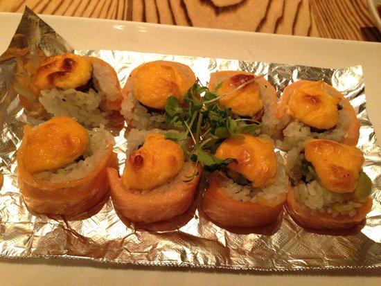 Ooka : Baked Philadelphia roll- smoked salmon, avocado, eel and baked cream cheese- fantastic!