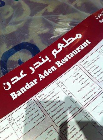 Bandar Aden: Menu