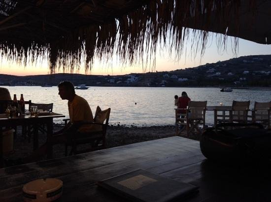 Livadia Hotel: on the restaurant beach at sunset.