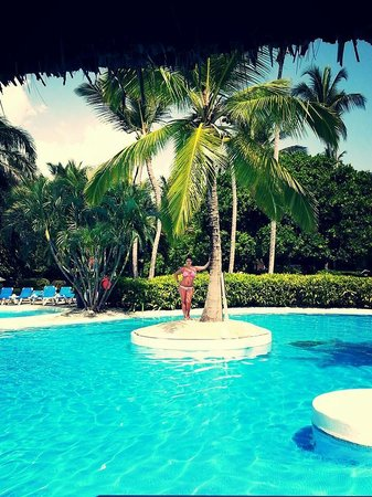 Natura Park Beach - EcoResort & Spa : There are palm tree islands in the pool along with a swim up bar