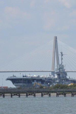 Hampton Inn Charleston/Mt. Pleasant-Patriots Point: USS York with Ravenel Bridge in background