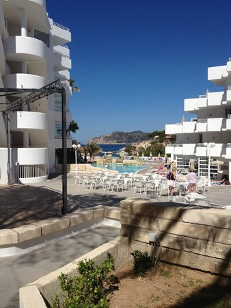 FERGUS Style Cala Blanca Suites: the terrace area with the dancing stage leading towards the pool.