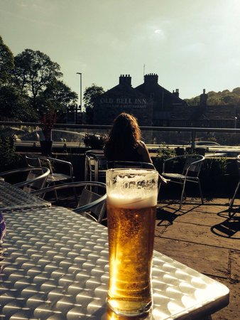 The Old Bell Inn: Pint in the beer garden before we sat down